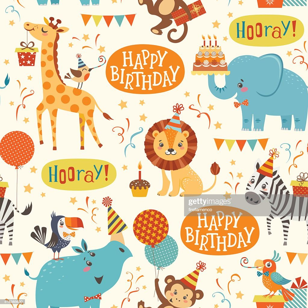 Happy birthday animals pattern