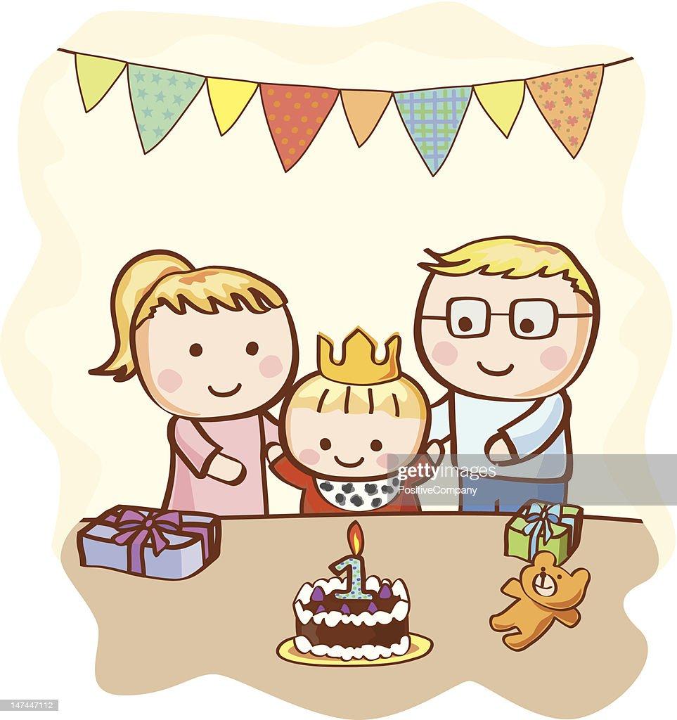 Joyeux Anniversaire De Bébé Avec Les Parents Illustration Getty Images