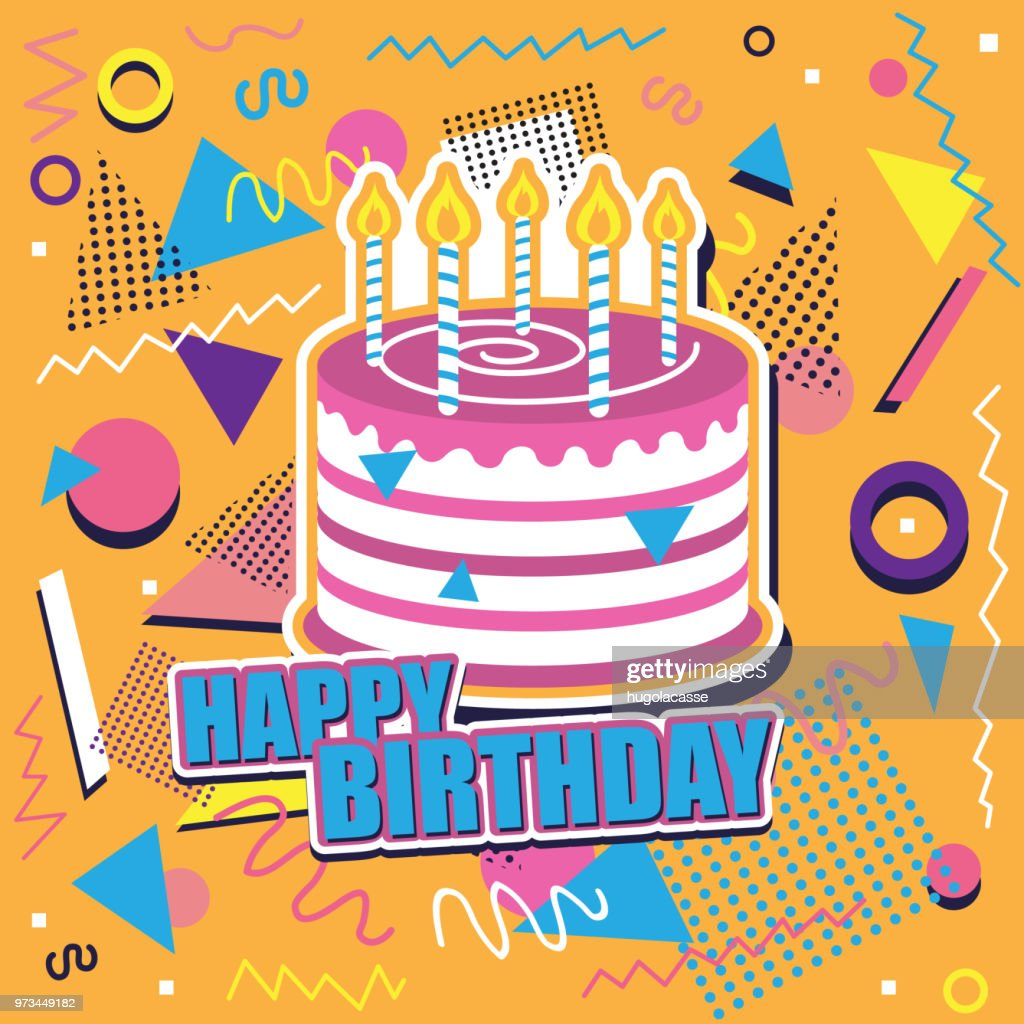 Happy birthday background with cake and abstract design