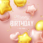 Happy Birthday background with pink and gold floating balloons