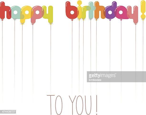 alles gute zum geburtstag luftballons buchstaben - geburtstagskarte stock-grafiken, -clipart, -cartoons und -symbole