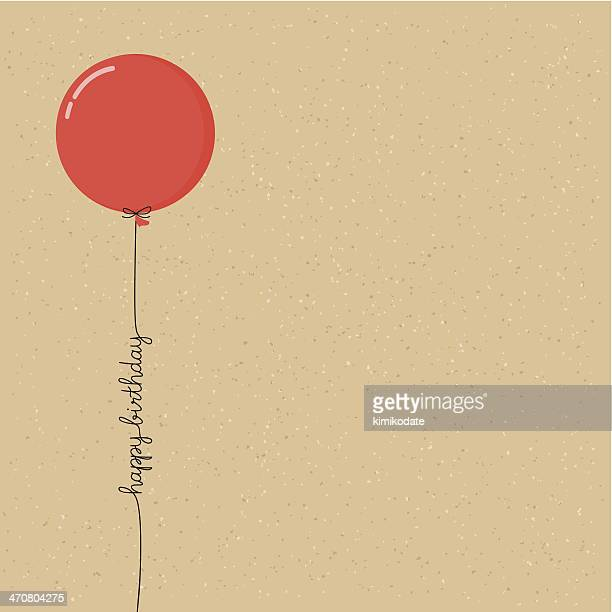happy birthday balloon with script - balloon stock illustrations