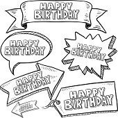 Happy Birthday banners, labels, and tags