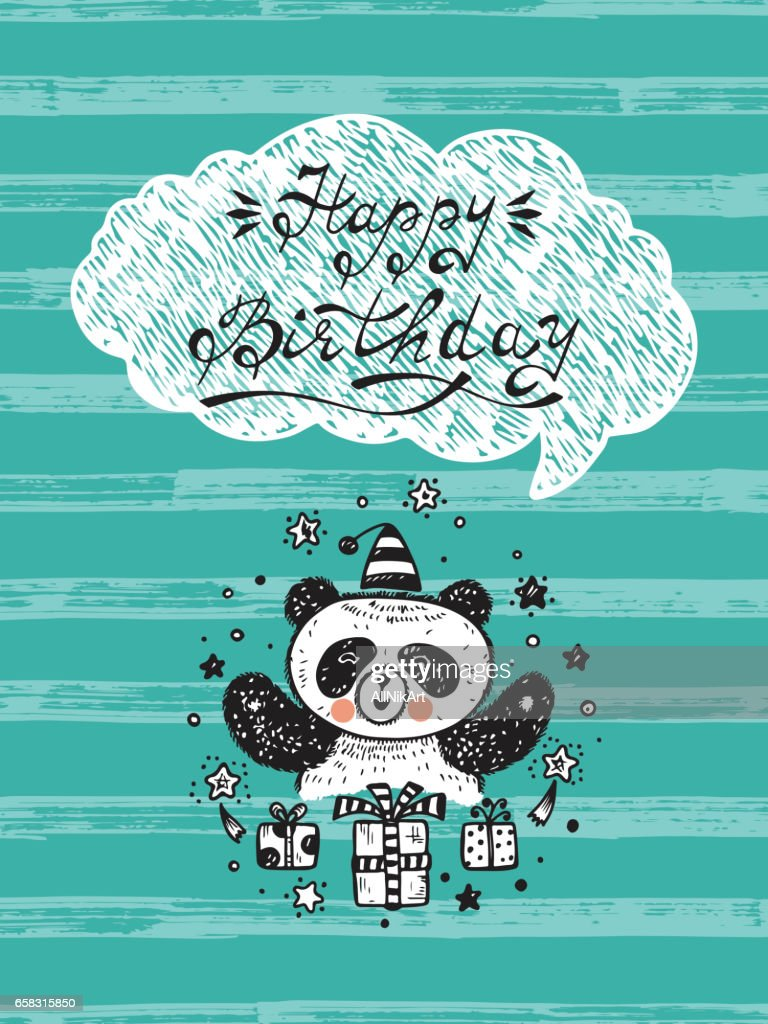 Happy Birthday! Birthday Vector Card with a Cute Panda Bear and Gifts. Hand Drawn Doodle illustration