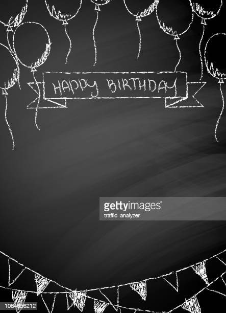 happy birthday blackboard - happy birthday stock illustrations