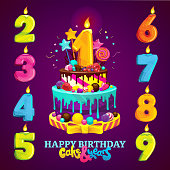Happy birthday cake and numbers for each year. Vector illustration