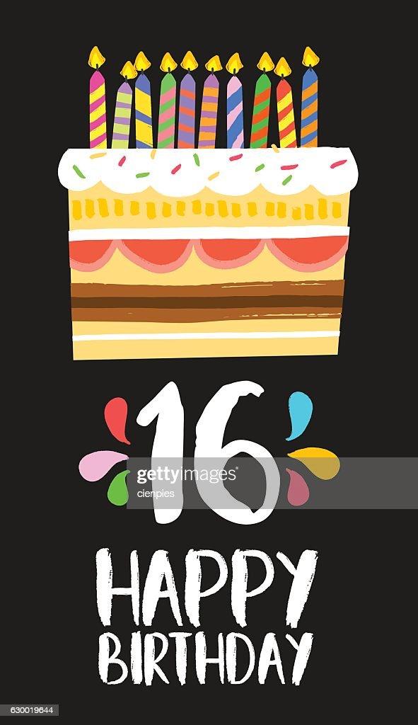 Happy Birthday cake card 16 sixteen year party