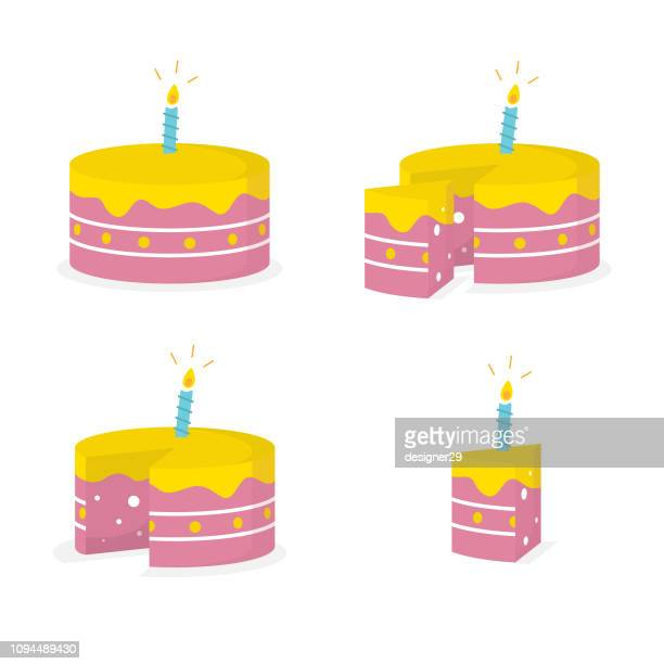 happy birthday cake icon and flat design. slice of cake vector design and white background. - birthday cake stock illustrations