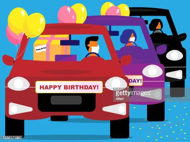 happy birthday car parade - parade stock illustrations