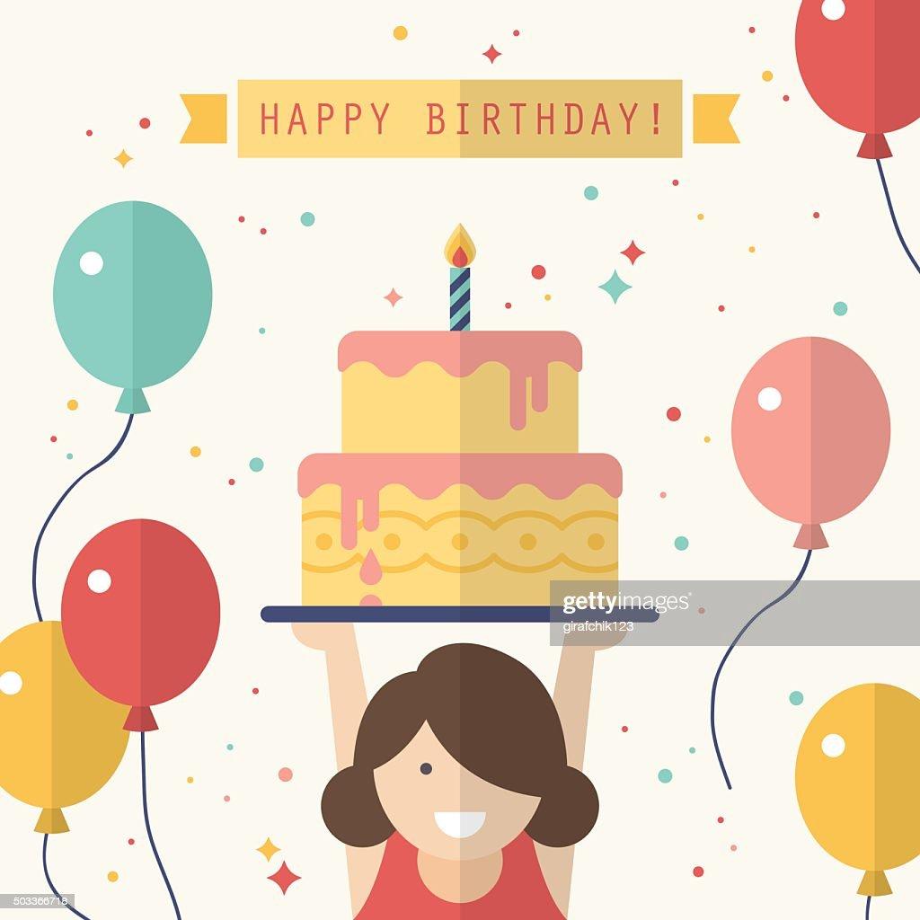 Happy birthday card design in flat style