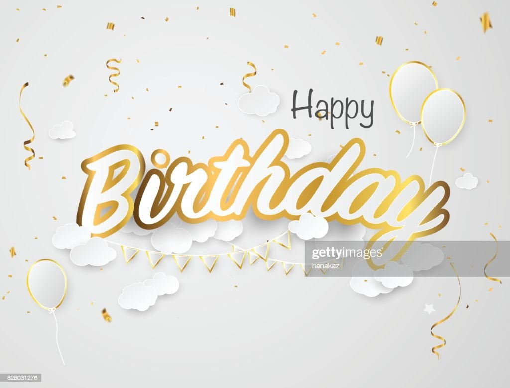 Phenomenal Happy Birthday Card Template Paper Cut Vector Illustration With Personalised Birthday Cards Bromeletsinfo