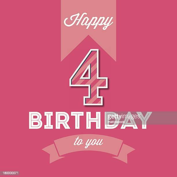 illustrazioni stock, clip art, cartoni animati e icone di tendenza di carta di buon compleanno - 4 5 anni
