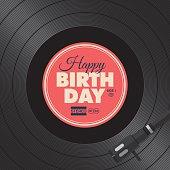 Happy birthday card. Vinyl illustration background 02