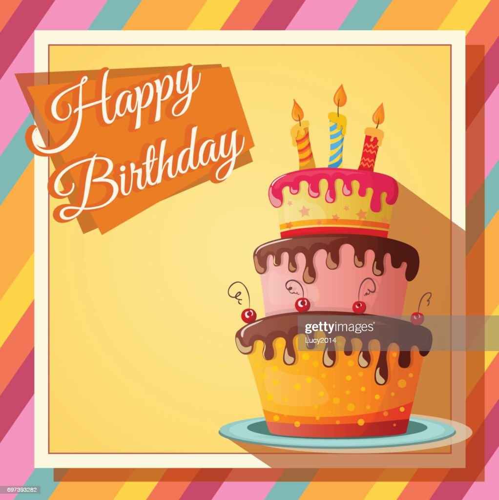 Happy Birthday Card With A Realistic Cake Vector Art Getty Images
