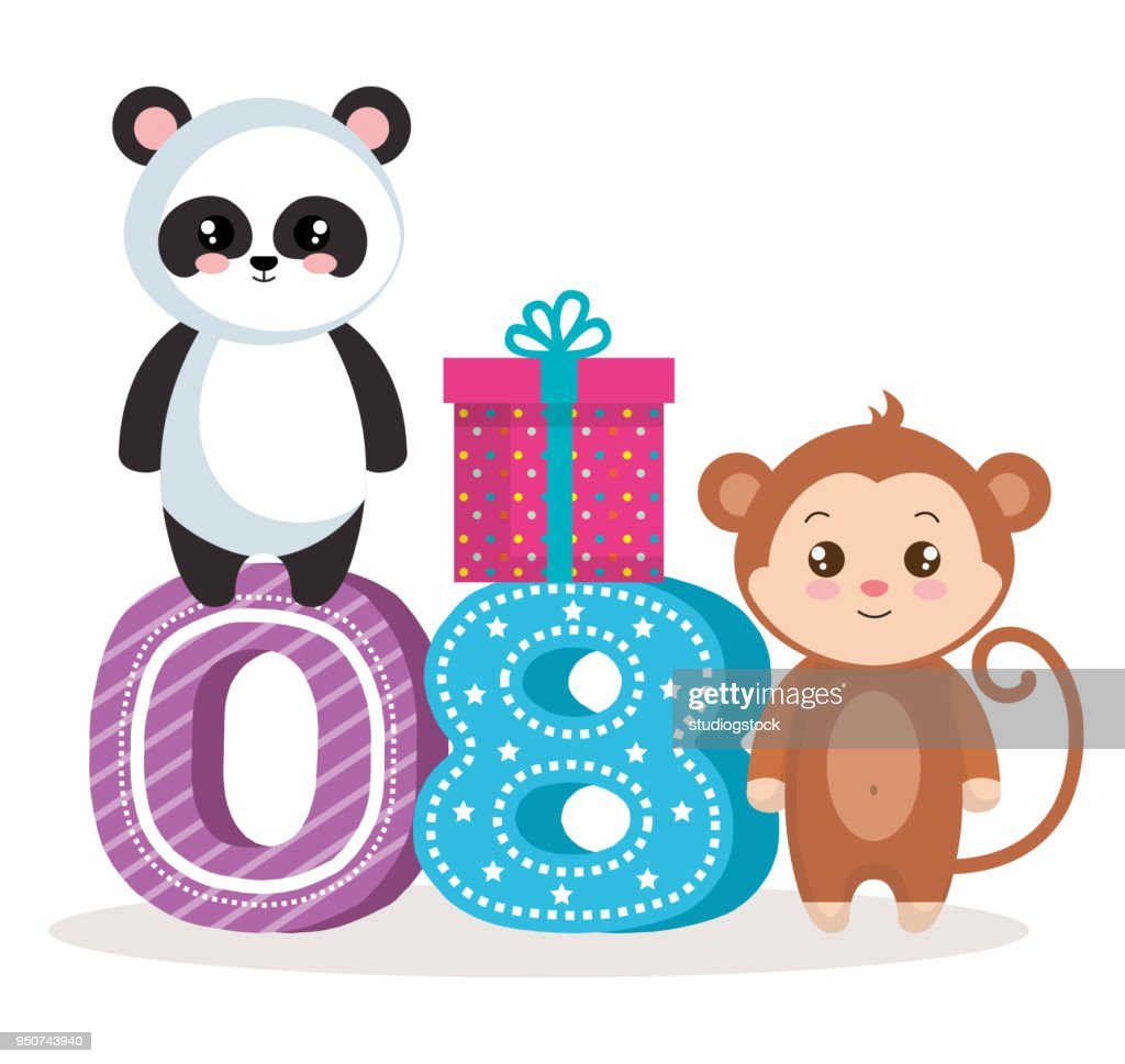 happy birthday card with bear panda amd monkey