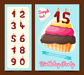 Happy birthday card with cupcake. Birthday card. Vector