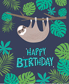Happy Birthday card with cute sloth and tropical plants. Editable vector illustration