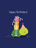 Happy birthday card with cute turtle