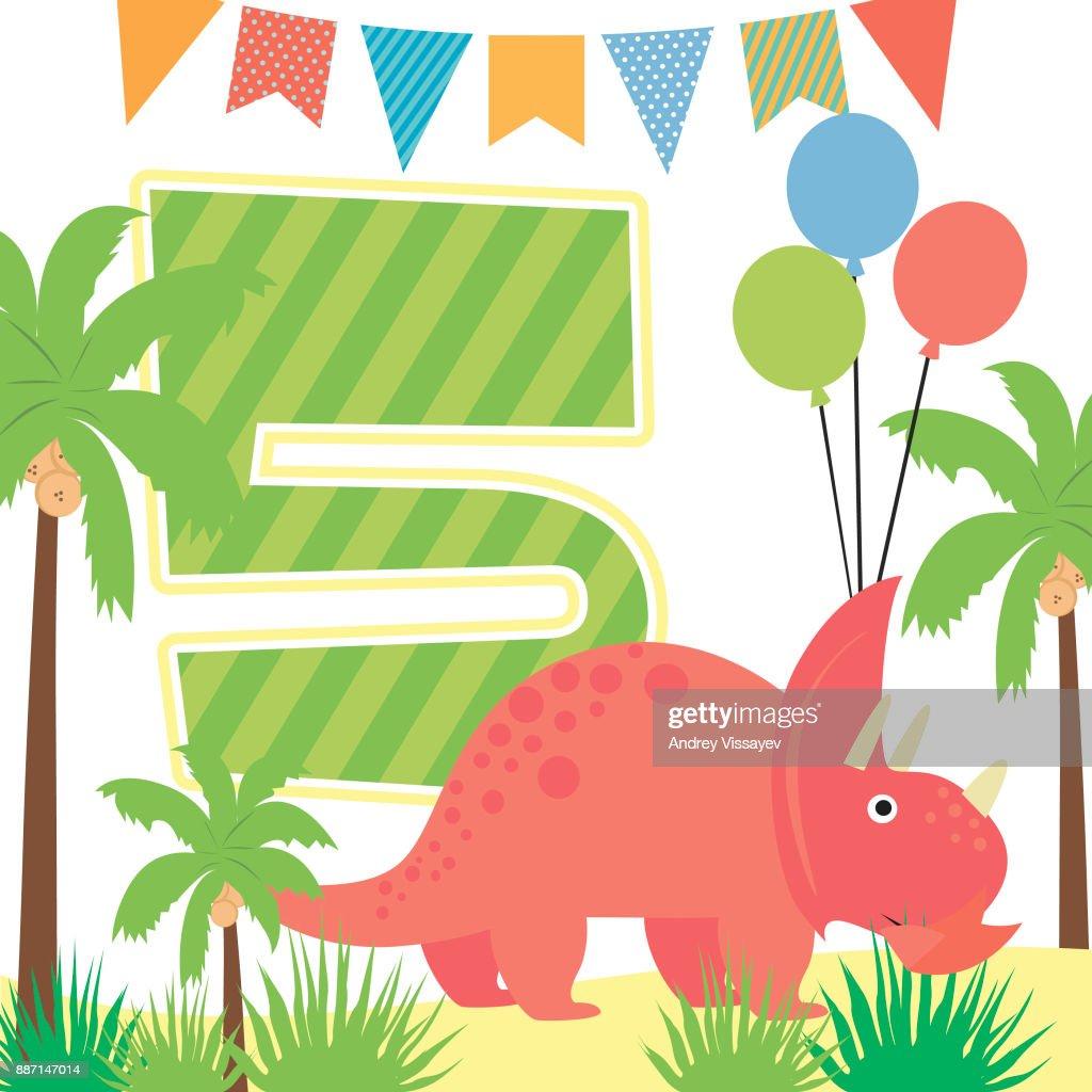 Happy Birthday Card Mit Lustigen Dinosaurier Und Nomber Vektor Illustration Vektorgrafik