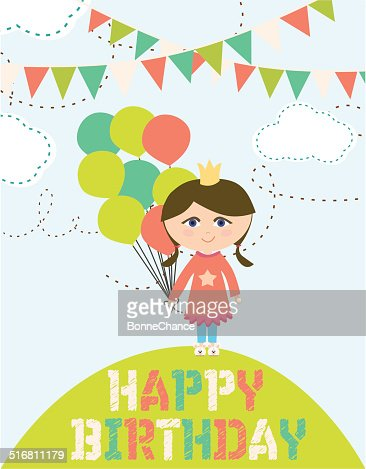 Happy Birthday Card With Fun Girl Vector Art Getty Images