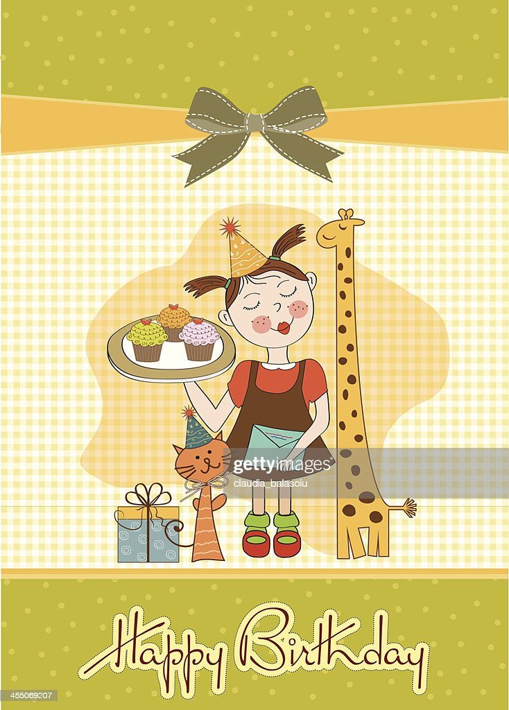 Happy Birthday Card With Funny Girl Animals And Cupcakes Vector Art