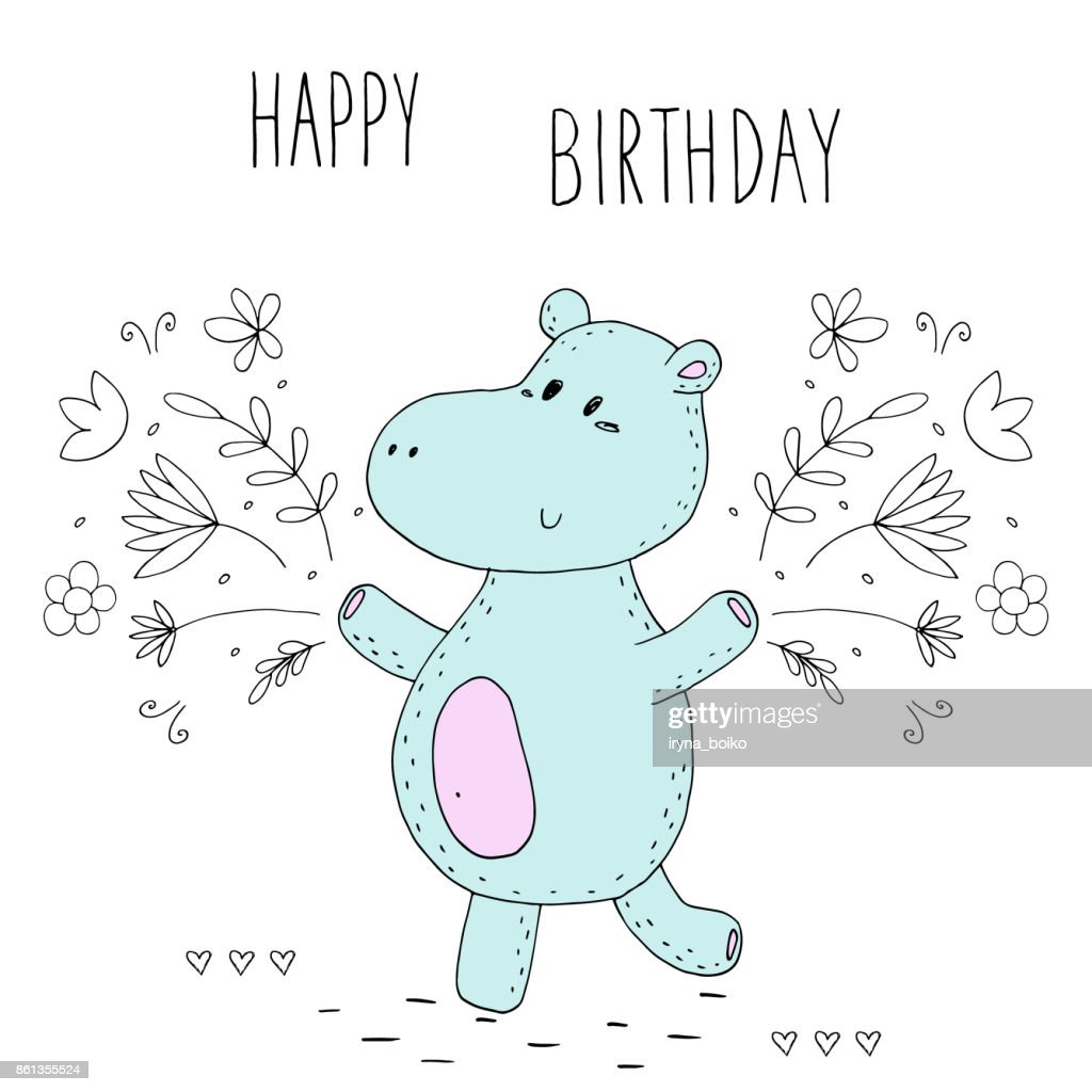 Happy birthday card with funny hippo in vector vector art getty images happy birthday card with funny hippo in vector bookmarktalkfo Image collections
