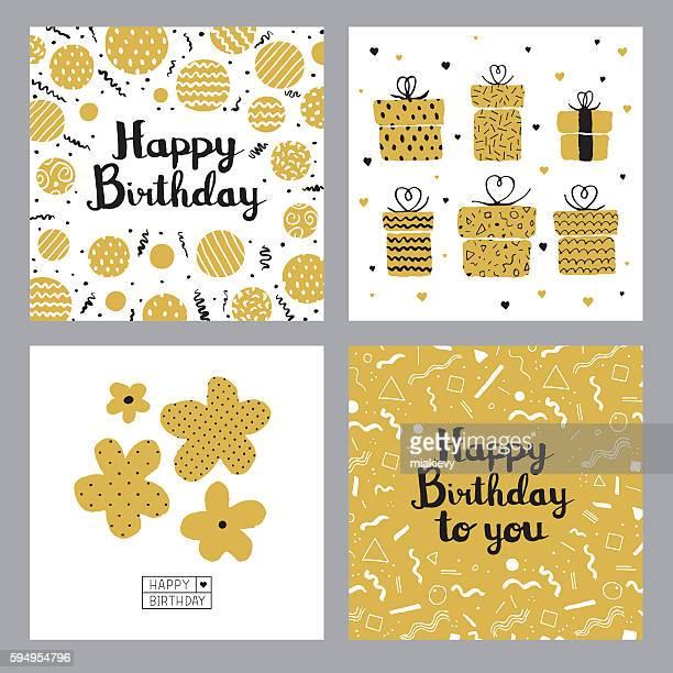 illustrations, cliparts, dessins animés et icônes de cartes de joyeux anniversaire - birthday