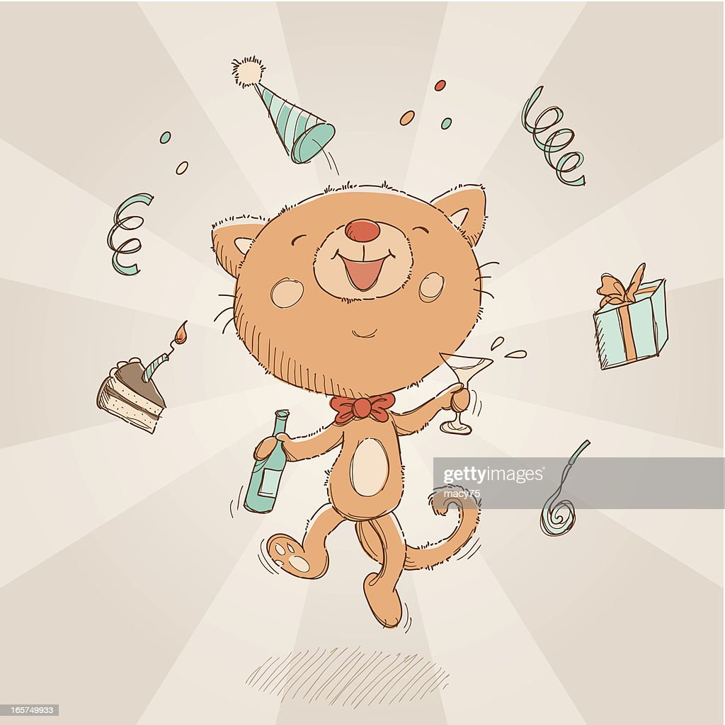 Happy Birthday Cat Card Vector Art Getty Images