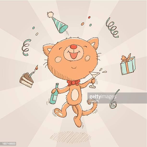 happy birthday cat card - happy birthday cat stock illustrations