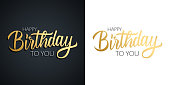 Happy Birthday celebrate set. Greeting cards with golden colored hand lettering text design.