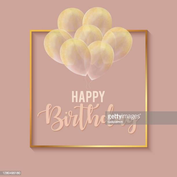happy birthday celebration card template with gold frame and gold colored glittering hand drawn balloons. - birthday card stock illustrations