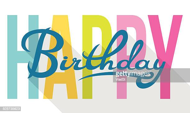 Happy Birthday colorful calligraphy card