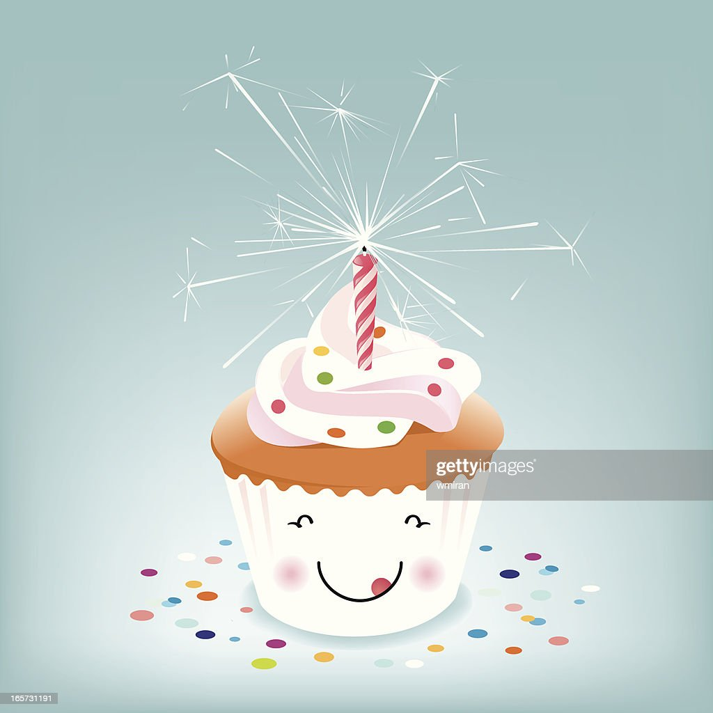 Happy Birthday Cupcake With Sparkler Candle Stock Vector