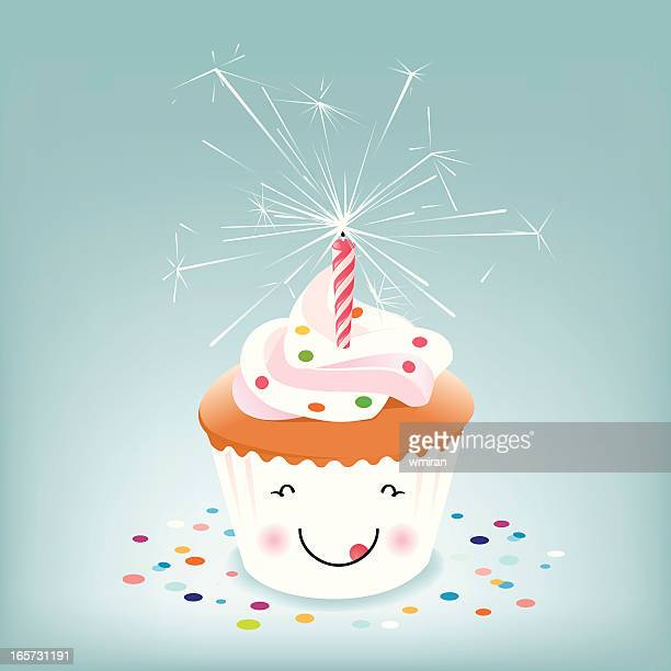 happy birthday cupcake with sparkler candle - icing stock illustrations