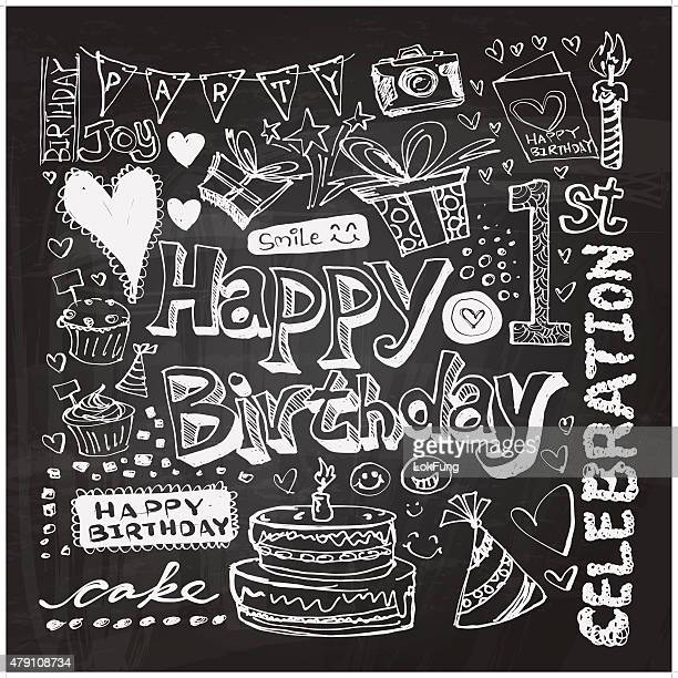 happy birthday doodle drawing - chalk art equipment stock illustrations, clip art, cartoons, & icons