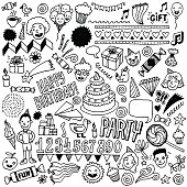 Happy birthday doodle set 1. Hand drawn vector illustration.