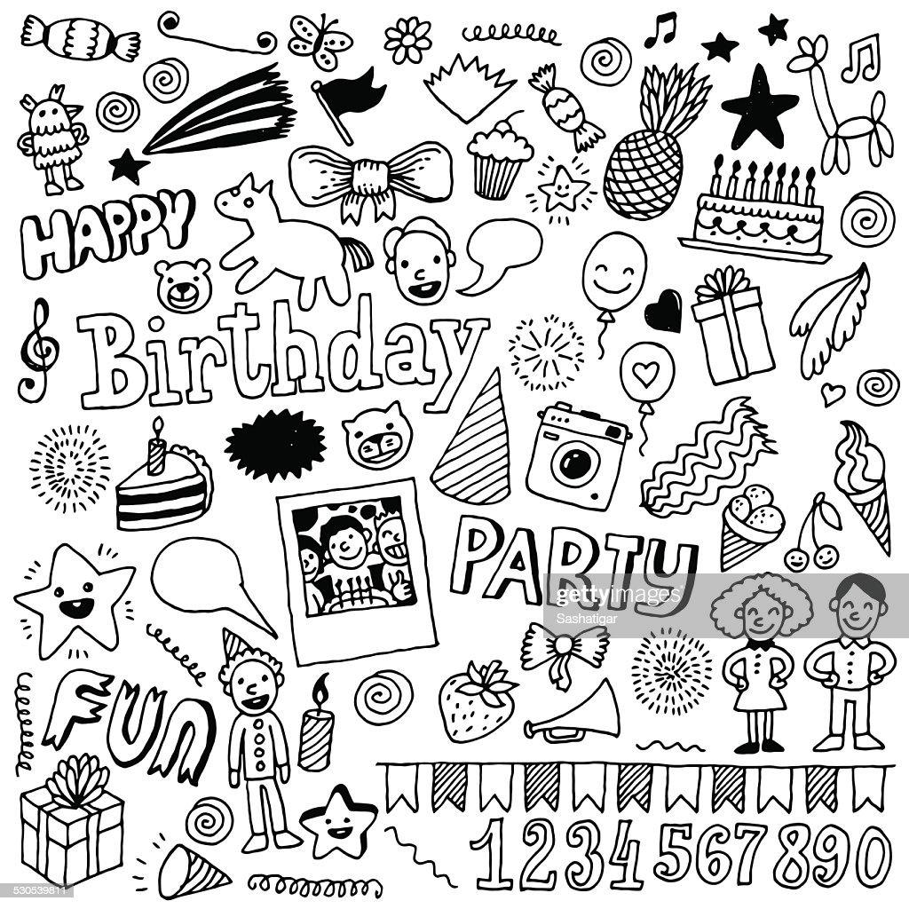 Happy birthday doodle set 2. Hand drawn vector illustration.