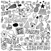 Happy birthday doodle set 2. Hand drawn vector illustration.