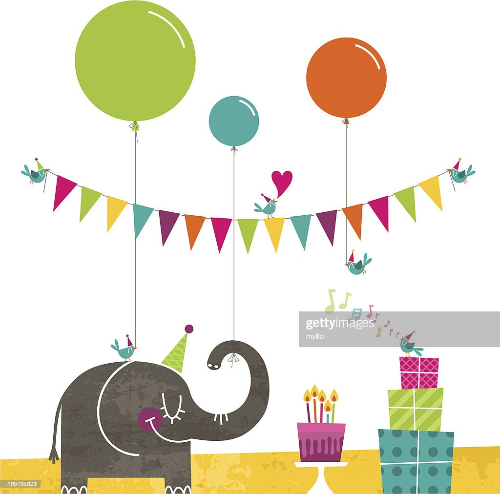 Happy birthday elephant birds party retro cake bunting