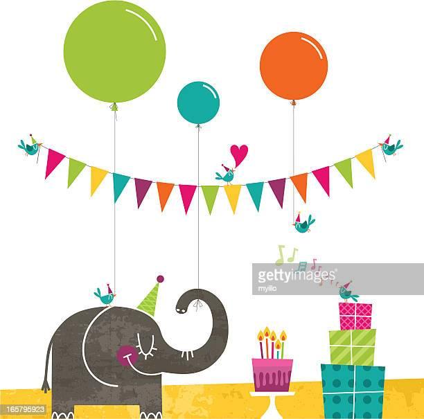ilustrações de stock, clip art, desenhos animados e ícones de aves de feliz aniversário festa retro bolo fazendo bandeirinha - canto de passarinho