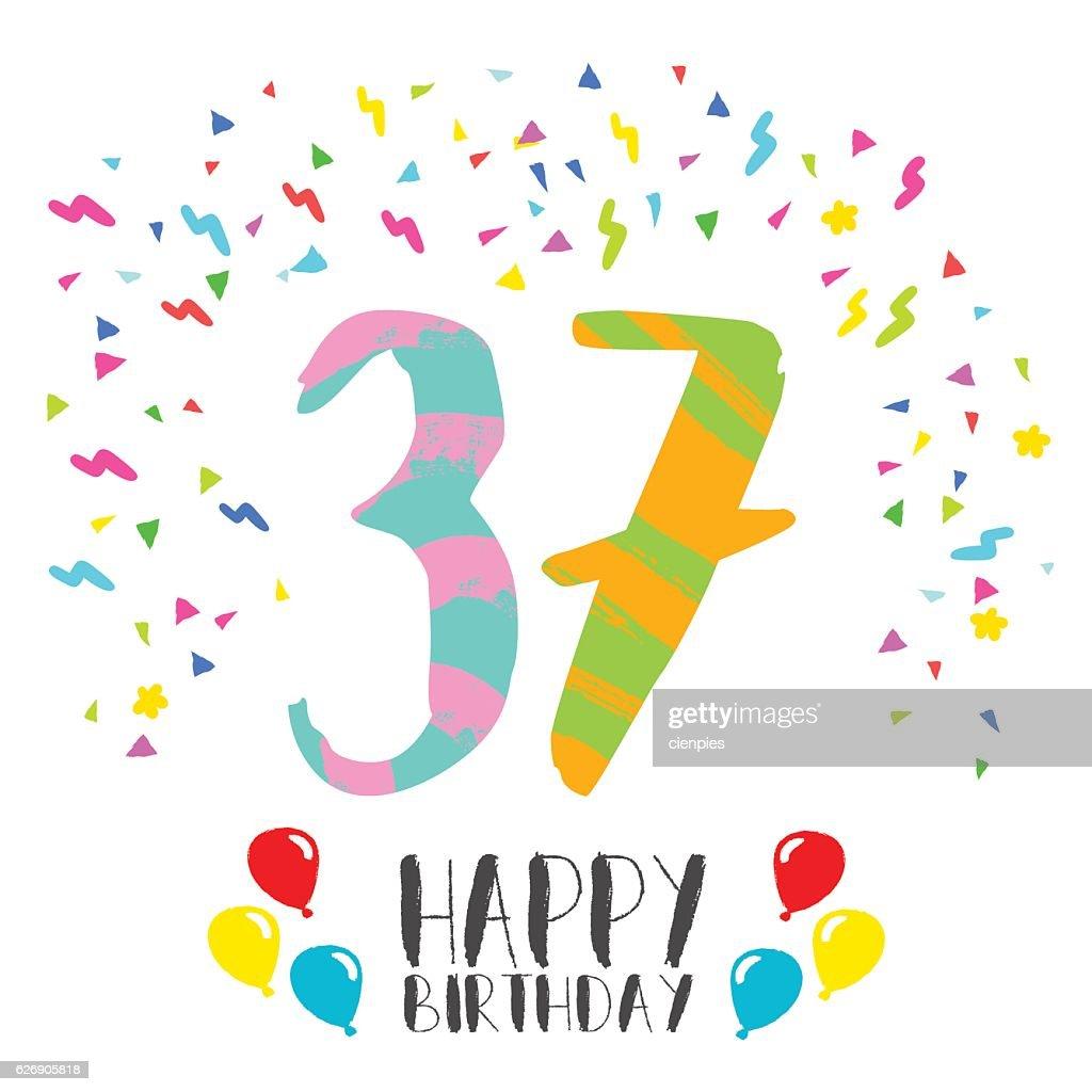 Happy Birthday For 37 Year Party Invitation Card Vektorgrafik