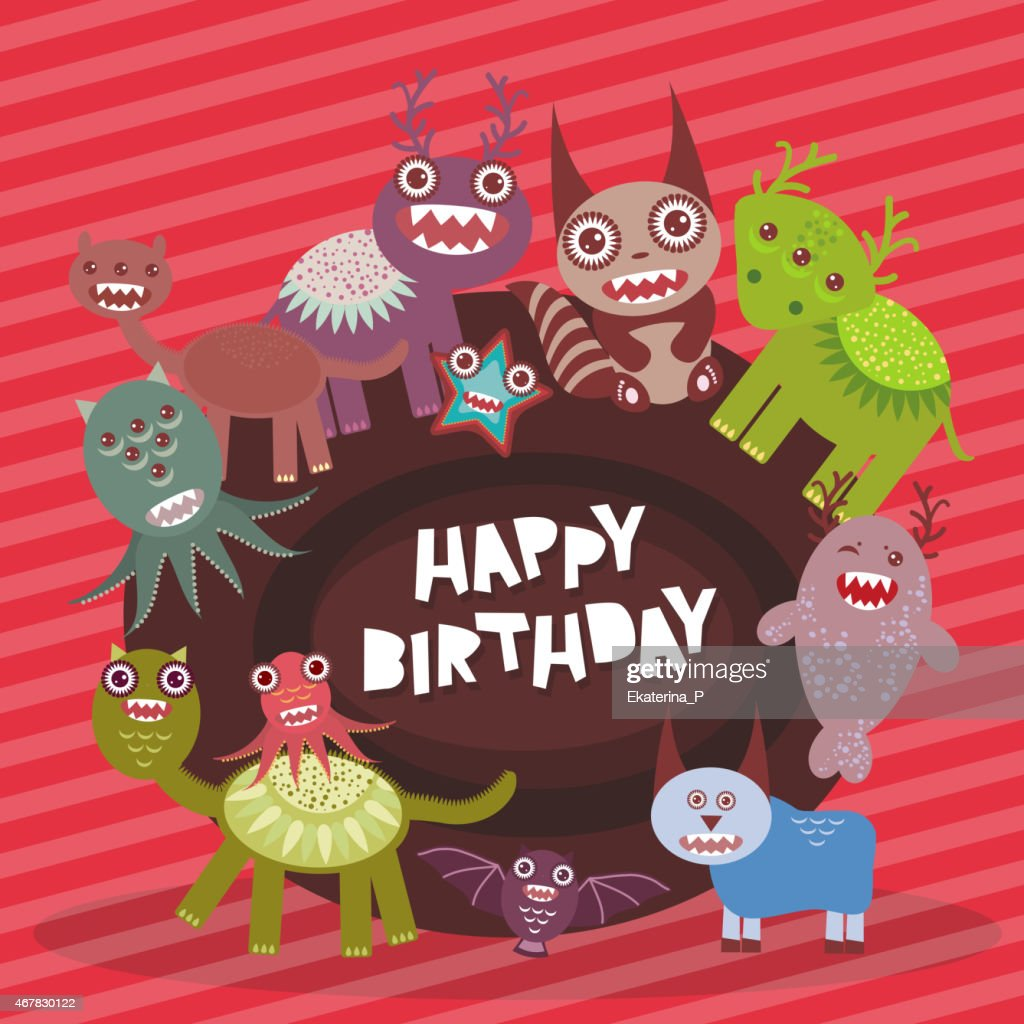 Happy birthday Funny monsters party card on pink striped background.