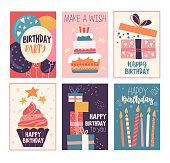 Happy birthday greeting card and invitation set