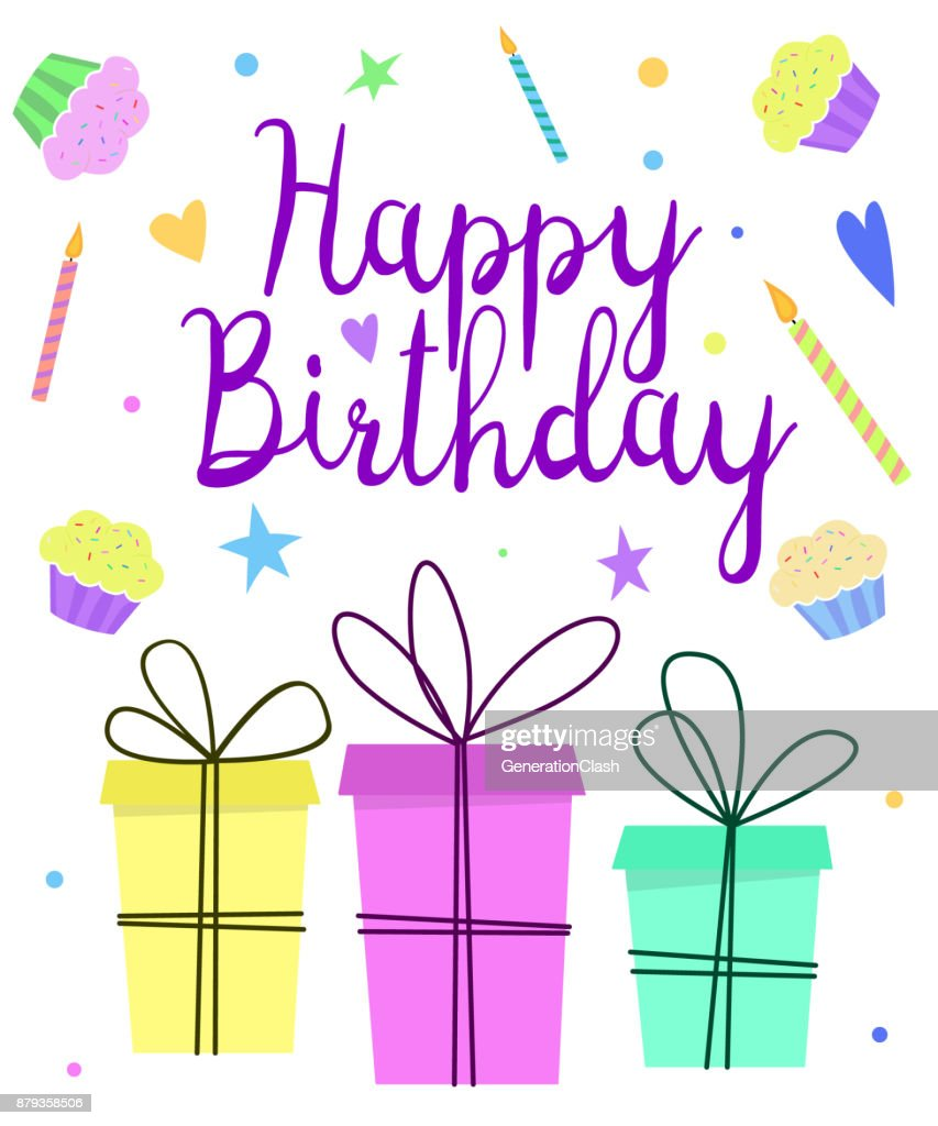 Happy Birthday Greeting Card Design With Cute Gift Boxes Candles