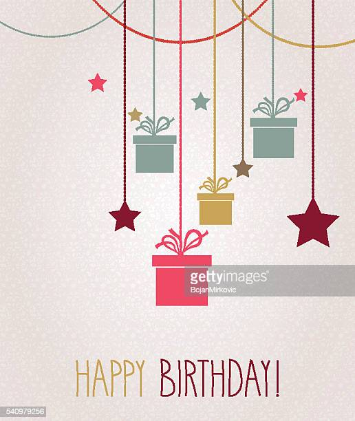 happy birthday greeting card. hanging colorful gift - happy birthday banner stock illustrations
