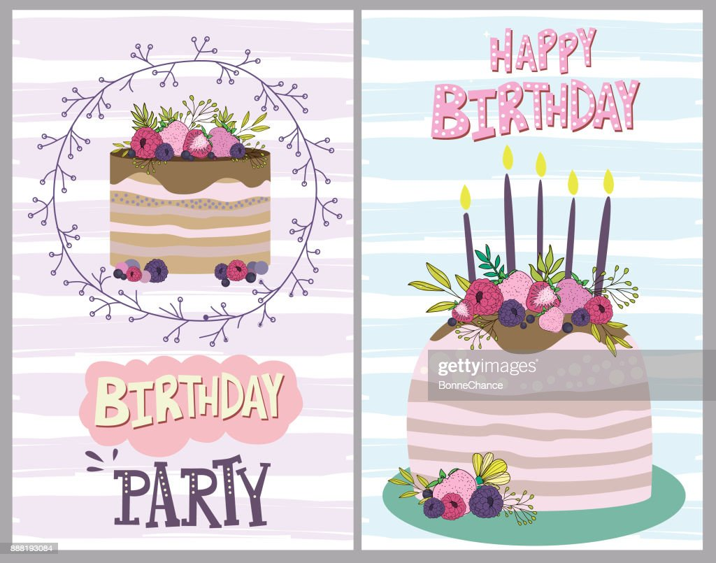Happy Birthday Greeting Card With Cake And Berry Editable Vector