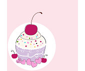 Happy birthday greeting card with cupcakes and hearts