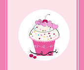 Happy birthday greeting card with cupcakes, candles,confetti