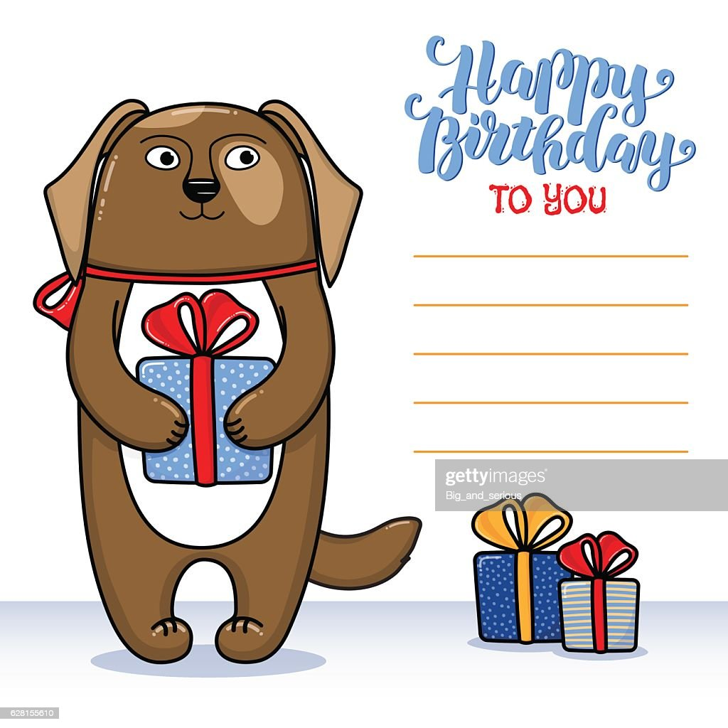 Happy Birthday Greeting Card With Dog Holding A Gift Vector Art