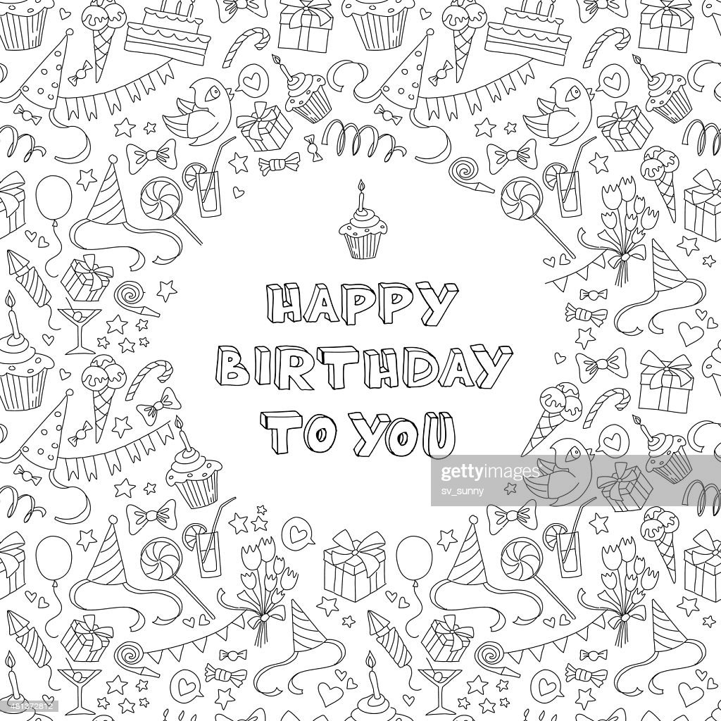Happy birthday greeting card with hand  drawm pattern and letter